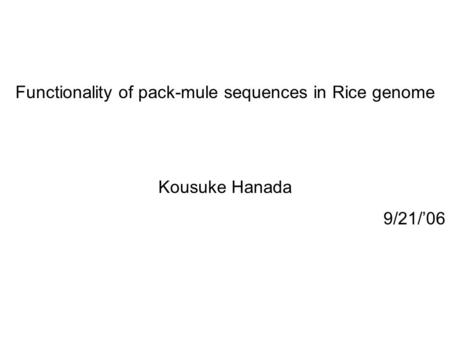 Functionality of pack-mule sequences in Rice genome Kousuke Hanada 9/21/'06.