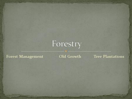 Forest ManagementOld Growth Tree Plantations. Tree Plantations are artificial forests created by humans Also known as tree farms. Usually only one tree.