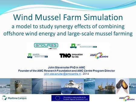 Wind Mussel Farm Simulation a model to study synergy effects of combining offshore wind energy and large-scale mussel farming John Stavenuiter PhD in AMC.