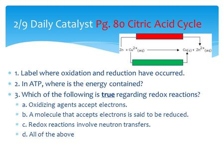  1. Label where oxidation and reduction have occurred.  2. In ATP, where is the energy contained?  3. Which of the following is true regarding redox.