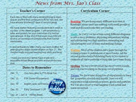 Teacher's Corner News from Mrs. Jao's Class Dates to Remember Curriculum Corner Reading: We are doing many different activities in Reading Centers and.