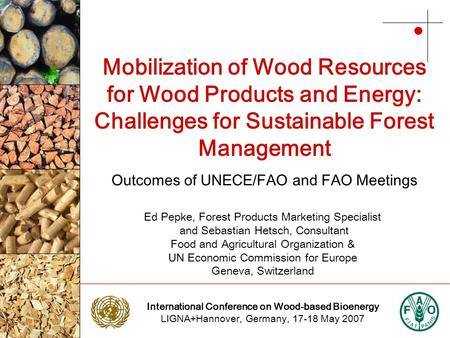 International Conference on Wood-based Bioenergy LIGNA+Hannover, Germany, 17-18 May 2007 Photo: NTC Photo: Stora Enso Mobilization of Wood Resources for.