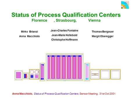Anna Macchiolo, Status of Process Qualification Centers, Sensor Meeting, 31st Oct 2001 Status of Process Qualification Centers Florence, Strasbourg, Vienna.