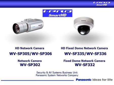 Security & AV Systems Business Unit Panasonic System Networks Company HD Network Camera WV-SP305/WV-SP306 Network Camera WV-SP302 HD Fixed Dome Network.
