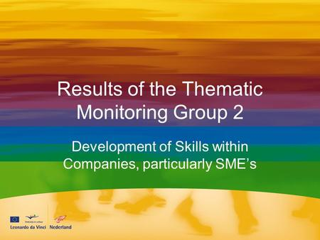 Results of the Thematic Monitoring Group 2 Development of Skills within Companies, particularly SME's.