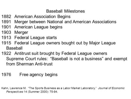 Baseball Milestones 1882American Association Begins 1891Merger between National and American Associations 1901American League begins 1903Merger 1913Federal.