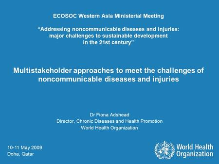 "ECOSOC Western Asia Ministerial Meeting ""Addressing noncommunicable diseases and injuries: major challenges to sustainable development in the 21st century"""