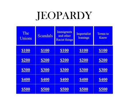 JEOPARDY $100 $200 $300 $400 $500 The Unions Scandals Immigrants and other Racist things Imperialist leanings Terms to Know.