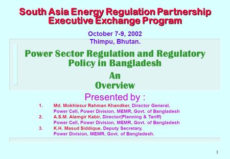 1 South Asia Energy Regulation Partnership Executive Exchange Program October 7-9, 2002 Thimpu, Bhutan. Power Sector Regulation and Regulatory Policy in.