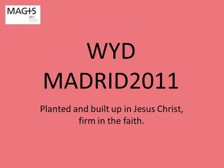 WYD MADRID2011 Planted and built up in Jesus Christ, firm in the faith.