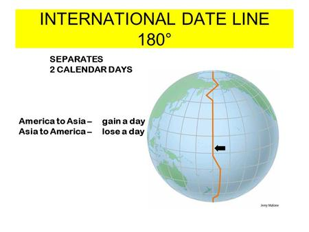 INTERNATIONAL DATE LINE 180° SEPARATES 2 CALENDAR DAYS America to Asia – gain a day Asia to America – lose a day.