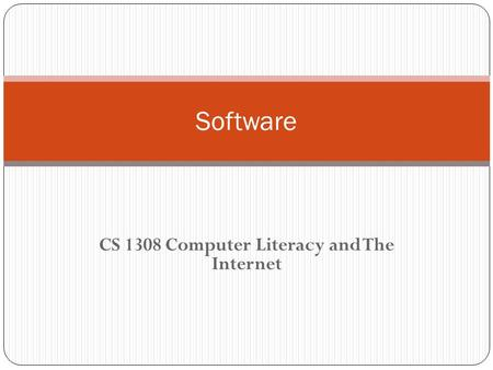 CS 1308 Computer Literacy and The Internet Software.