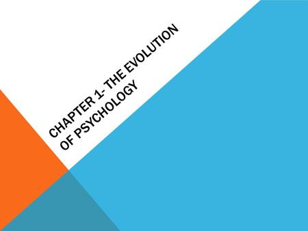 CHAPTER 1- THE EVOLUTION OF PSYCHOLOGY. SPECULATION TO SCIENCE- HOW PSYCH DEVELOPED Psyche – soul logos – study of Prior to 1879 –Physiology and philosophy.