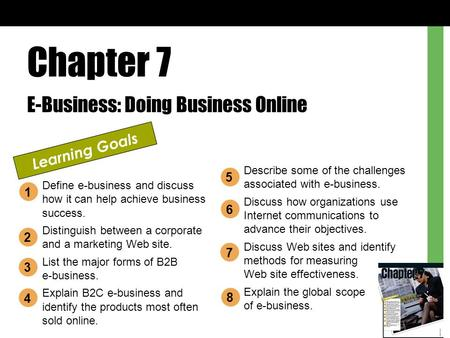 Chapter 7 E-Business: Doing Business Online Learning Goals Define e-business and discuss how it can help achieve business success. Distinguish between.