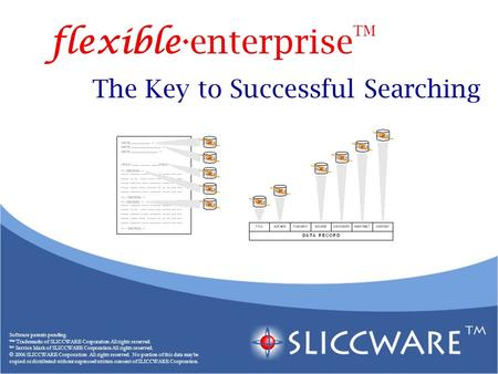 The Key to Successful Searching Software patents pending. ™ Trademarks of SLICCWARE Corporation All rights reserved. SM Service Mark of SLICCWARE Corporation.
