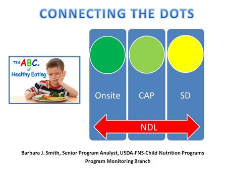OnsiteCAPSD NDL Barbara J. Smith, Senior Program Analyst, USDA-FNS-Child Nutrition Programs Program Monitoring Branch.