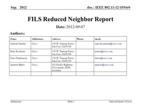Doc.: IEEE 802.11-12/1054r0 Submission Sep. 2012 Santosh Pandey (Cisco)Slide 1 FILS Reduced Neighbor Report Date: 2012-09-07 Authors: