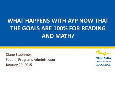 WHAT HAPPENS WITH AYP NOW THAT THE GOALS ARE 100% FOR READING AND MATH? Diane Stuehmer, Federal Programs Administrator January 20, 2015.