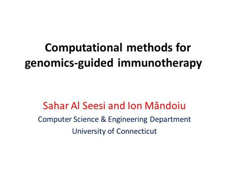 Computational methods for genomics-guided immunotherapy