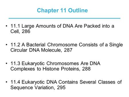 Chapter 11 Outline 11.1 Large Amounts of DNA Are Packed into a Cell, 286 11.2 A Bacterial Chromosome Consists of a Single Circular DNA Molecule, 287 11.3.