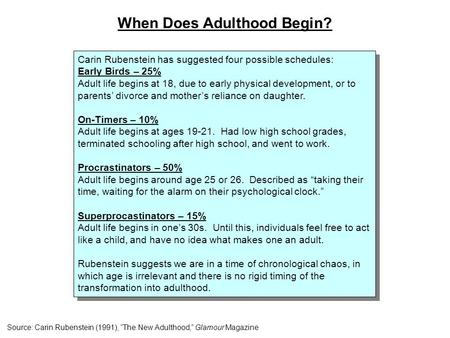 Carin Rubenstein has suggested four possible schedules: Early Birds – 25% Adult life begins at 18, due to early physical development, or to parents' divorce.