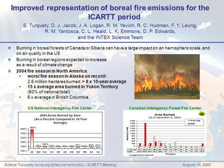 Improved representation of boreal fire emissions for the ICARTT period S. Turquety, D. J. Jacob, J. A. Logan, R. M. Yevich, R. C. Hudman, F. Y. Leung,