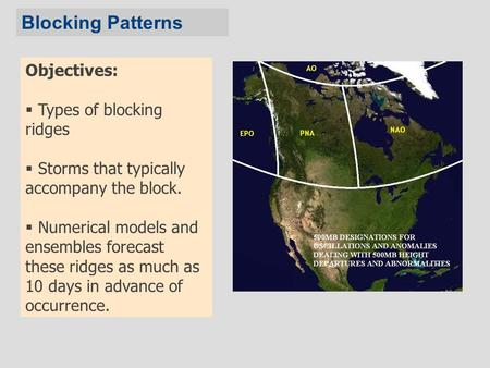Objectives:  Types of blocking ridges  Storms that typically accompany the block.  Numerical models and ensembles forecast these ridges as much as 10.
