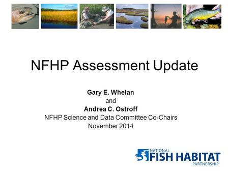 NFHP Assessment Update Gary E. Whelan and Andrea C. Ostroff NFHP Science and Data Committee Co-Chairs November 2014.
