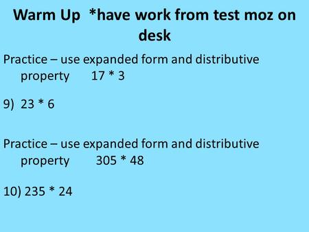 Warm Up Practice 5nbt6 Use Whatever Method Your 5 Th Grade