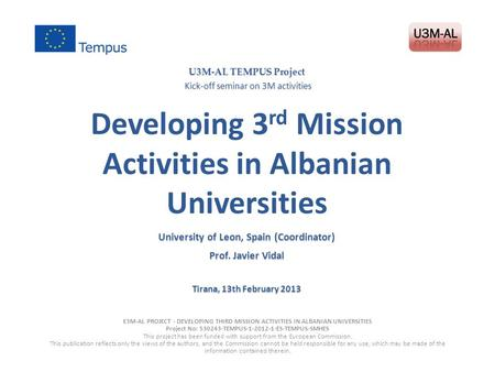 Developing 3rd Mission Activities in Albanian Universities