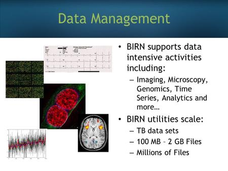 Data Management BIRN supports data intensive activities including: – Imaging, Microscopy, Genomics, Time Series, Analytics and more… BIRN utilities scale: