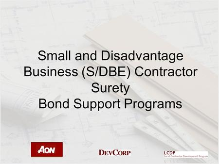 Small and Disadvantage Business (S/DBE) Contractor Surety Bond Support Programs.