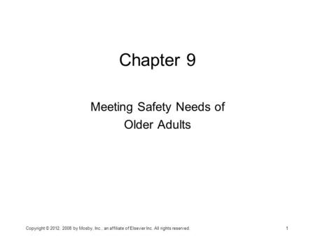 Meeting Safety Needs of Older Adults