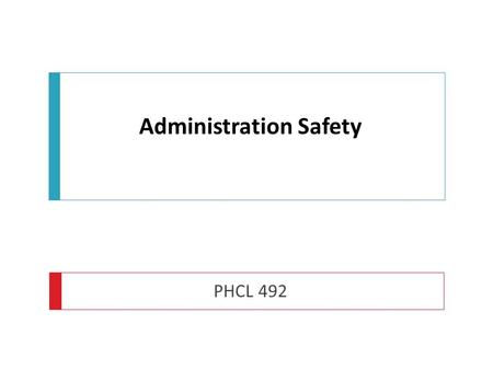 Administration Safety PHCL 492. Standards for Medicines Management  'When required to administer medication a practitioner is accountable for his or.