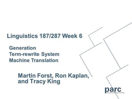 Linguistics 187/287 Week 6 Martin Forst, Ron Kaplan, and Tracy King Generation Term-rewrite System <strong>Machine</strong> <strong>Translation</strong>.
