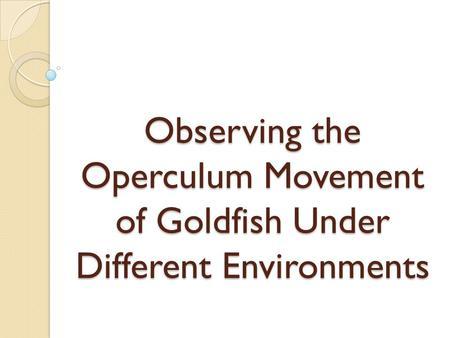 Observing the Operculum Movement of Goldfish Under Different Environments.