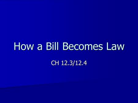 How a Bill Becomes Law CH 12.3/12.4. Types of Bills and Resolutions Bill- a proposed law Public- measures applying to the nation as a whole Private- measures.