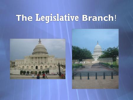 The Legislative Branch! The Legislative Branch!. Primary job of Congress is… to pass legislation.