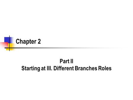 Chapter 2 Part II Starting at III. Different Branches Roles.