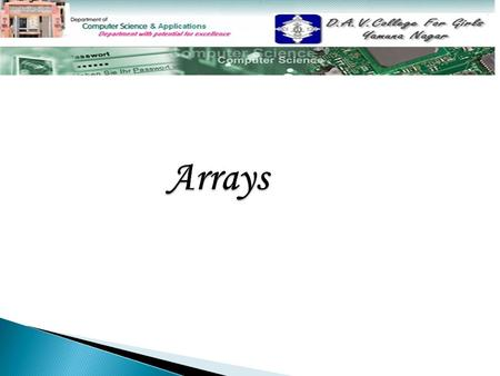 Topics to be covered  Introduction to array Introduction to array  Types of array Types of array  One dimensional array One dimensional array  Declaration.