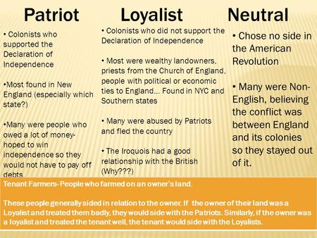 LoyalistNeutral Colonists who supported the Declaration of Independence Most found in New England (especially which state?) Many were people who owed a.