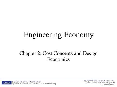 Chapter 2: Cost Concepts and Design Economics