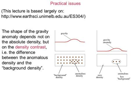 Practical issues (This lecture is based largely on:  The shape of the gravity anomaly depends not on the absolute.