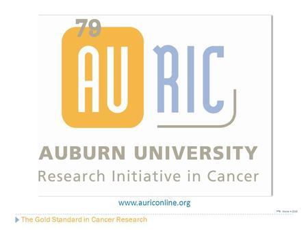 The Gold Standard in Cancer Research www.auriconline.org FFB: October 4, 2013.