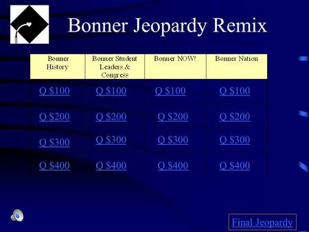 Q $100 Q $200 Q $300 Q $400 Q $100 Q $200 Q $300 Q $400 Final Jeopardy Bonner Jeopardy Remix.