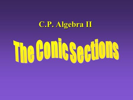 C.P. Algebra II The Conic Sections Index The Conics The Conics Translations Completing the Square Completing the Square Classifying Conics Classifying.