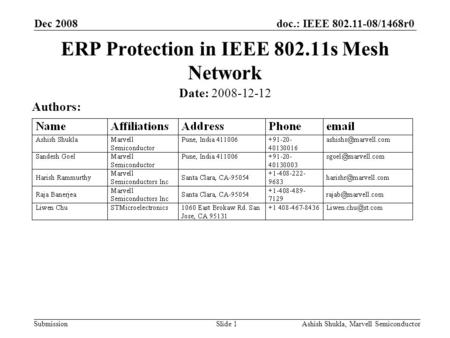 Doc.: IEEE 802.11-08/1468r0 Submission Dec 2008 Ashish Shukla, Marvell SemiconductorSlide 1 ERP Protection in IEEE 802.11s Mesh Network Date: 2008-12-12.