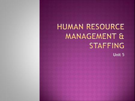 Unit 5.  Human resource management may be defined as the organized function of planning for human resource needs, and recruitment, selection, development,