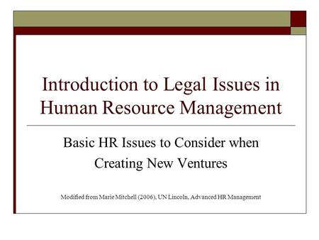 Legal issues in human resources management essay