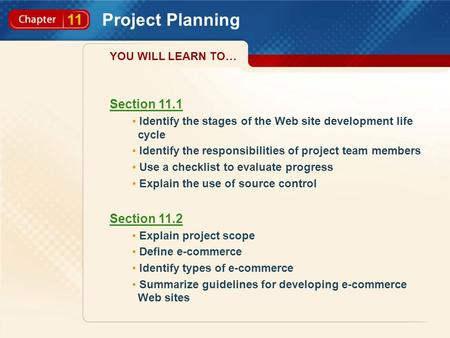 11 Project Planning Section 11.1 Identify the stages of the Web site development life cycle Identify the responsibilities of project team members Use a.